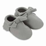 Mac&Lou Baby Bow Leather Moccasins - Gray