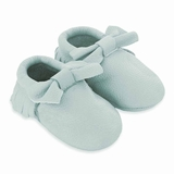 Mac&Lou Baby Bow Leather Moccasins Lagoon - Light Blue