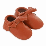 Mac&Lou Baby Bow Leather Moccasins Sky - Orange