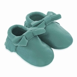 Mac&Lou Baby Bow Leather Moccasins - Teal