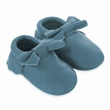 Mac&Lou Baby Bow Leather Moccasins - Turquoise