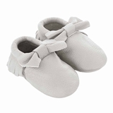 Mac&Lou Baby Bow Leather Moccasins Wedding - White
