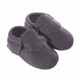 Mac&Lou Baby Gladiator Leather Moccasins - Dark Grey