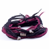 Mac&Lou Dejavu 4 Layer Double Colored Silk And  Sterling Silver Custom Casted Skulls Bracelet - Black/Pink