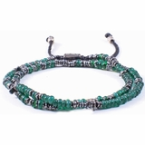 Mac&Lou Grannar Tiny 2 Layer  Hand Made Fine Discs and Natural Glass Bead Bracelet - Green/Silver