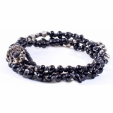 Mac&Lou Haro Hnad Knotted Glass and Fine Silver Nugget Bracelet - Black