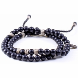 Mac&Lou Onyx 2 Layer Onyx and Hand Made Fine Silver Rings Bracelet - Black