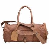 Mac&Lou Pelagius Leather Travel Gym Bag - Brown