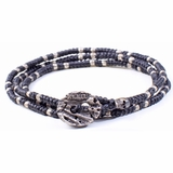 Mac&Lou Petro 3 Layer Fine Silver Hand Knotted Bead Bracelet - Black