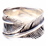 Mac&Lou Pocahon Ring Men Sterling Feather Ring - Silve