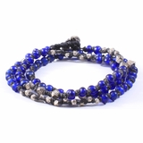 Mac&Lou Poseidon 3 Layer Anchient Glass and Hand Made Fine Silver Nugget Bracelet - Blue