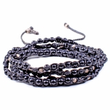 Mac&Lou Tsiko 4 Layer Hand Knotted Natural Bead and Fine Silver Nugget Bracelet - Black