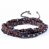 Mac&Lou Tsiko 4 Layer Hand Knotted Natural Bead and Fine Silver Nugget Bracelet - Black/Red
