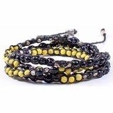 Mac&Lou Tsiko 4 Layer Hand Knotted Natural Bead and Fine Silver Nugget Bracelet - Black/Yellow