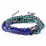 Mac&Lou Tsiko 4 Layer Hand Knotted Natural Bead and Fine Silver Nugget Bracelet - Multi-Color