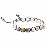 Mac&Lou Vudu Hand Made Natural Bead Sterling Silver and Brass Skull Bracelet - Multi-Color