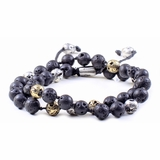 Mac&Lou Yfesto Natural Lava Rock and Custom Casted Bras and Sterling Silver Bracelet - Multi-Color