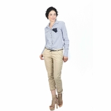 Maison Scotch Black Belt Skinny Pants - Beige