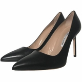 Manolo Blahnik Bb Pointy Leather High Heels Pumps - Black