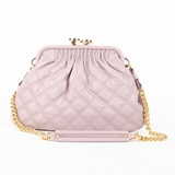Marc Jacobs Quilted Leather Stam Kisslock Chain Shoulder Bag - Light Pink