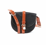 Melie Bianco Allie Flap Over Messenger Bag- Black