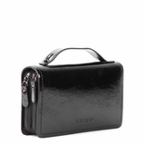Melie Bianco Audrey Double Zip Top Handle Clutch Bag Wallet With Organizer - Black