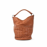 Melie Bianco Blair Woven Bucket Bag - Saddle