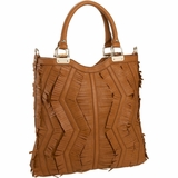 Melie Bianco Heather Fringe Tote - Saddle
