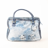Melie Bianco Jenny Denim Flower Bag Hobo - Light Blue