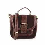 Melie Bianco Karla Top Handle Handbag With Nubuck Trim - Brown