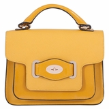 Melie Bianco Lena Top Handle and Flap over Messenger with Oval Lock - Mustard