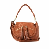 Melie Bianco Molly Flap Over Shoulder Bag With Tassels And Braided Handle - Saddle