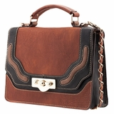Melie Bianco Nora Flap Over Color Block Top Handle Bag - Brown