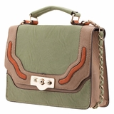 Melie Bianco Nora Flap Over Color Block Top Handle Bag - Mint
