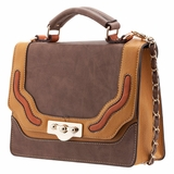 Melie Bianco Nora Flap Over Color Block Top Handle Bag - Taupe