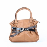 Melie Bianco Sabrina Contrast Belted Satchel Bag - Brown