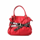 Melie Bianco Sabrina Contrast Belted Satchel Bag - Red