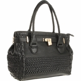 Melie Bianco Silvia S11-270 Structured Woven Satchel - Black