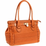 Melie Bianco Silvia S11-270 Structured Woven Satchel - Saddle