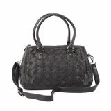 Melie Bianco Sydney Double Handle Woven Satchel Bag - Black