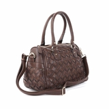 Melie Bianco Sydney Double Handle Woven Satchel Bag - Brown