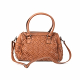 Melie Bianco Sydney Double Handle Woven Satchel Bag - Dark Saddle