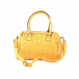 Melie Bianco Sydney Double Handle Woven Satchel Bag - Mustard