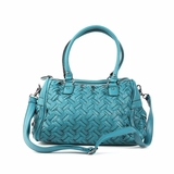 Melie Bianco Sydney Double Handle Woven Satchel Bag - Turquoise