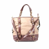 Melie Bianco Tote Bag B1256 Beige With Brown - Beige