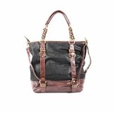 Melie Bianco Tote Bag B1256 Black With Brown - Black