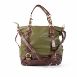 Melie Bianco Tote Bag B1256 Green With Brown - Green