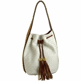Melie Bianco Vivian Woven Bucket Bag - White