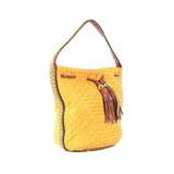 Melie Bianco Vivian Woven Bucket Bag With Chain Trim - Mustard