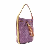 Melie Bianco Vivian Woven Bucket Bag With Chain Trim - Purple